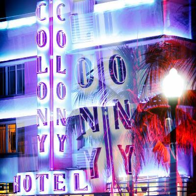 Instants of Series - Ocean Drive with the Colony Hotel by Night - Miami Beach - Florida - USA-Philippe Hugonnard-Photographic Print