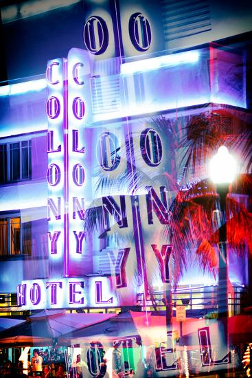 Instants of Series - Ocean Drive with the Colony Hotel by Night - Miami Beach-Philippe Hugonnard-Photographic Print