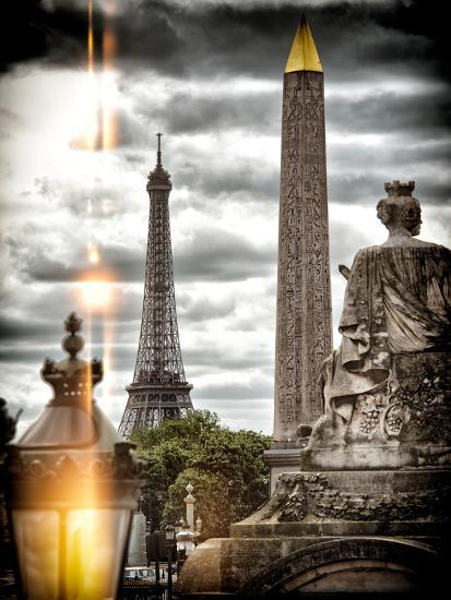 Instants of Series - Place de la Concorde with Obelisk and Eiffel Tower View - Paris, France-Philippe Hugonnard-Photographic Print