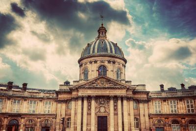 Institut De France in Paris. Famous Cupola, Dome of the Building against Clouds.-Michal Bednarek-Photographic Print