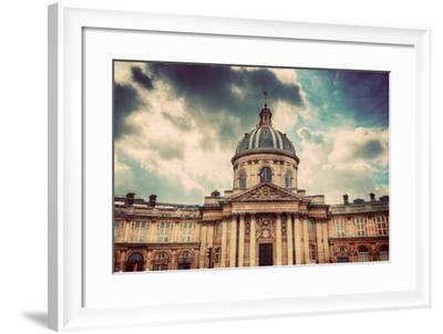Institut De France in Paris. Famous Cupola, Dome of the Building against Clouds.-Michal Bednarek-Framed Photographic Print