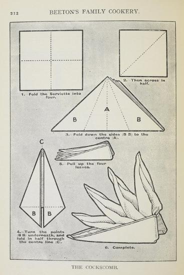 Instructions For Folding a Serviette Into 'The Cockscomb' Shape-Isabella Beeton-Giclee Print