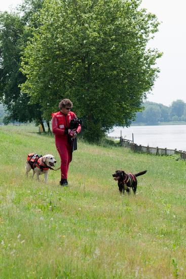 Instructors Work with Dogs Trained for Rescue at Sea Near a Lake Near Milan, Italy-Lori Epstein-Photographic Print