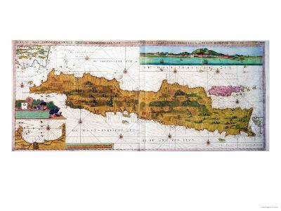 Insulae Lavae, a Large Folding Map of Java with Two Insets Both Depicting Views of Batavia Dutch--Giclee Print