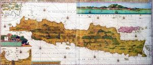Insulae Lavae, a Large Folding Map of Java with Two Insets Both Depicting Views of Batavia Dutch