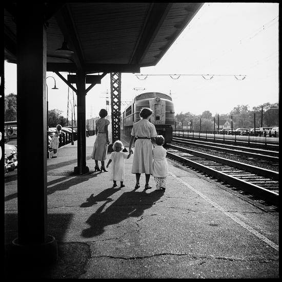 Insurance Broker Charles Hoffman's Wife Bringing Children to Train Station to Wait for His Arrival-Nina Leen-Photographic Print