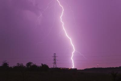 Intense Lightning Bolt Strikes in the City of Dallas During an Active Lightning Storm-Mike Theiss-Photographic Print