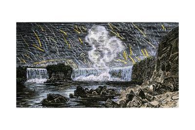 Intense Meteor Shower Seen Over Niagara Falls in 1833--Photographic Print