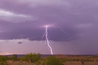 Intense Purple Lightning Bolts Strike in the Desert of New Mexico-Mike Theiss-Photographic Print