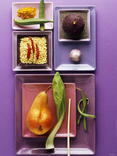 Interesting Combination of Foods on Plates-Luzia Ellert-Photographic Print