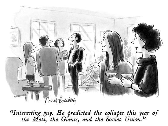 """Interesting guy.  He predicted the collapse this year of the Mets, the Gi…"" - New Yorker Cartoon-Mort Gerberg-Premium Giclee Print"
