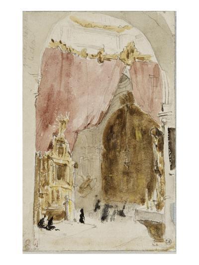 Intérieur d'une église à Cordoue-Eugene Delacroix-Giclee Print