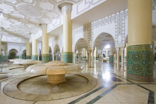 Interior Arches and Mosaic Tile Work of the Hammam Turkish Bath Below the Hassan Ii Mosque-Erika Skogg-Photographic Print