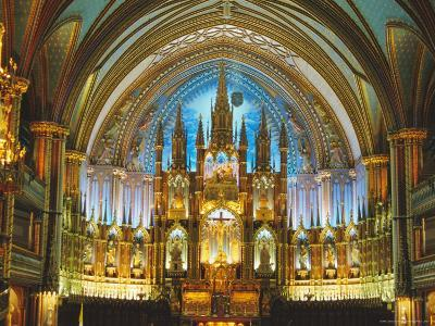 Interior, Basilica of Notre Dame, Montreal, Quebec Province, Canada-Charles Bowman-Photographic Print