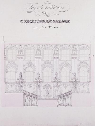 Interior Frontage of the Parade Stairs at the Winter Palace; Facade Interieure De L'Escalier De Par--Giclee Print