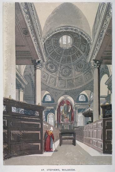 Interior Looking East, Church of St Stephen Walbrook, City of London, 1845--Giclee Print