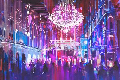 Interior Night Club with Bright Lights,Illustration Painting-Tithi Luadthong-Art Print