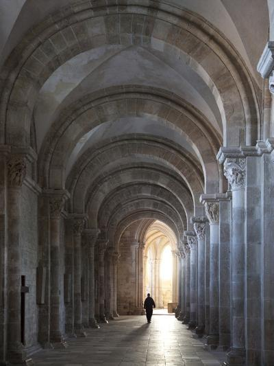 Interior North Nave Aisle with Priest Walking Away, Vezelay Abbey, UNESCO World Heritage Site, Veze-Nick Servian-Photographic Print
