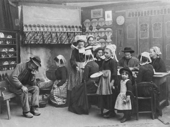 Interior of a Breton Pancake Restaurant, Finistere, c.1900-French Photographer-Photographic Print