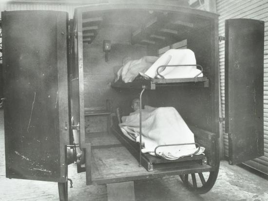 Interior of a horse drawn Metropolitan Asylums Board ambulance, London, 1939-Unknown-Photographic Print