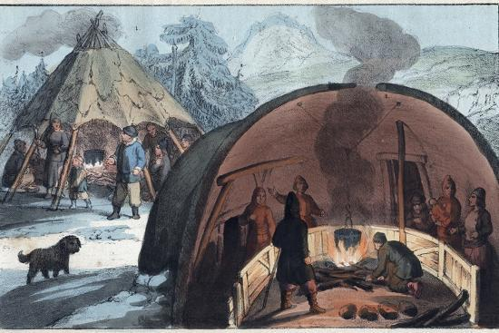 Interior of a Laplander Hut with a Family around the Fire-Stefano Bianchetti-Photographic Print