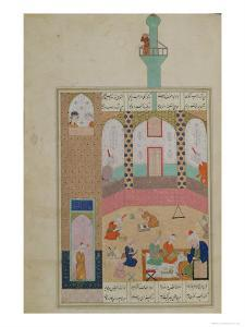 Interior of a Madrasa, from a Poem by Elyas Nizami circa 1550
