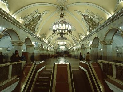 Interior of a Metro Station, with Ceiling Frescoes, Chandeliers and Marble Halls, Moscow, Russia-Gavin Hellier-Photographic Print