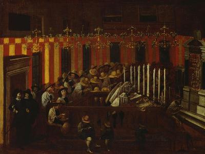 Interior of a North Italian Synagogue During Rosh Ha-Shanah Service- North Italian School-Giclee Print