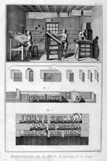 Interior of a Printing Works, Type Setting, 1751-1777-Denis Diderot-Giclee Print