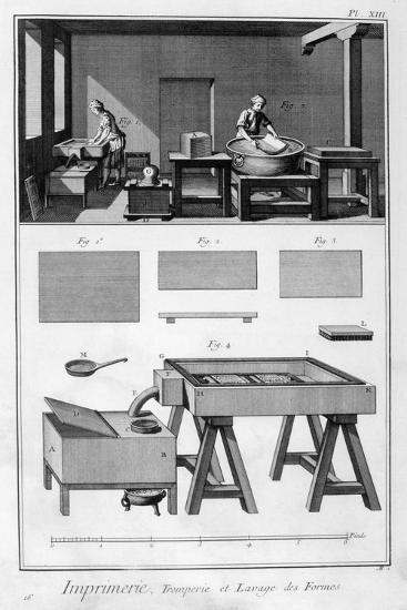 Interior of a Printing Works, Wetting Room, 1751-1777--Giclee Print