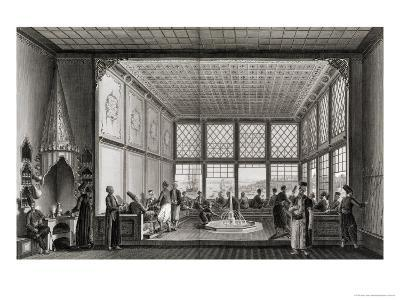 Interior of a Public Cafe in Constantinople by the Bosphorus, 1819-Anton Ignaz Melling-Giclee Print
