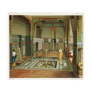 Interior of a Rich House in Cairo from Complete Costume History by Auguste Racinet, 1888