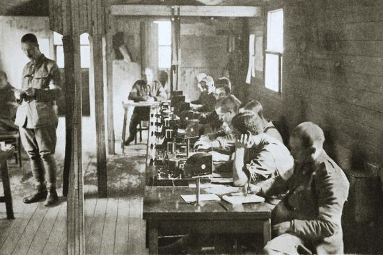 Interior of a signal exchange during the Battle of the Somme, France, World War I, 1916-Unknown-Photographic Print