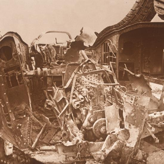 Interior of a tank which has been torn open, c1914-c1918-Unknown-Photographic Print