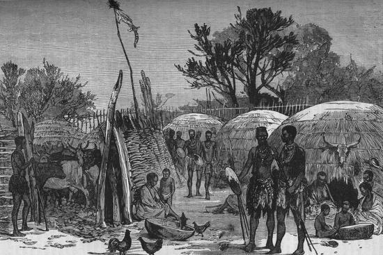 'Interior of a Zuli Kraal on the Tugela River', c1880-Unknown-Giclee Print