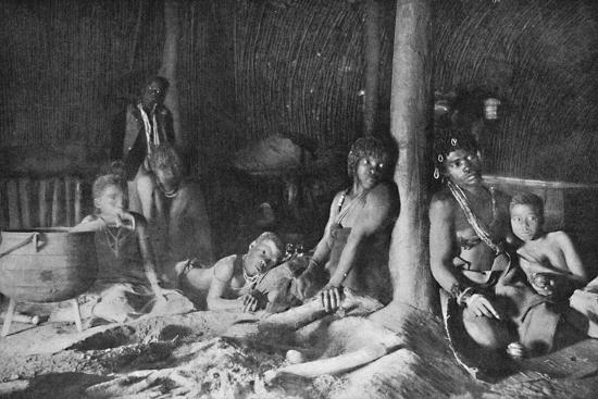 Interior of a Zulu hut, 1912-Unknown-Photographic Print