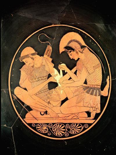 Interior of an Attic Red Figure Kylix Depicting Achilles Tending Wounded Patrocles, circa 500 BC- Sosias Painter-Giclee Print