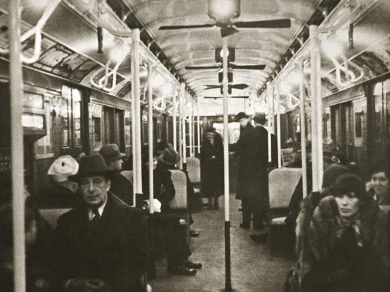 Interior of an Eighth Avenue subway carriage, New York, USA, early 1930s-Unknown-Photographic Print