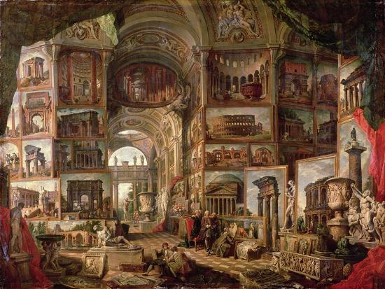 Interior of an Imaginary Picture Gallery-Giovanni Paolo Pannini-Giclee Print