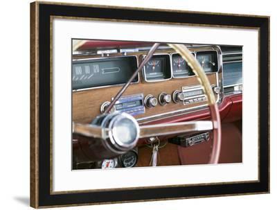 Interior of an Old Classic Car, Tucumcari, New Mexico, USA. Route 66-Julien McRoberts-Framed Photographic Print