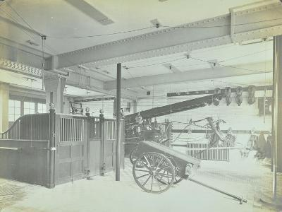 Interior of Appliance Room, Northcote Road Fire Station, Battersea, London, 1906--Photographic Print