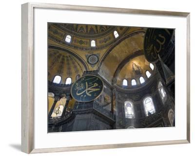 Interior of Aya Sofia Mosque, Sultanhamet, Istanbul, Turkey-Michele Falzone-Framed Photographic Print