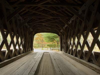 Interior of Bartonsville Covered Bridge, Fall Foliage Tour, Vermont-James Forte-Photographic Print