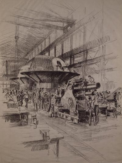 Interior of Cannon Factory, Construction of Howitzer and Gun Turret--Giclee Print