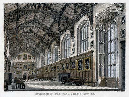 Interior of Christ Church Hall, Oxford University, C1830S-JH Le Keux-Giclee Print