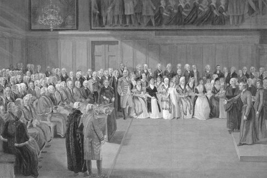 Interior of Christ's Hospital School, Newgate Street, City of London, 1822-JG Walker-Giclee Print