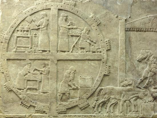 Interior of Fortified Enclosure, Detail from Relief from Nimrud, Iraq, 9th Century BC--Giclee Print