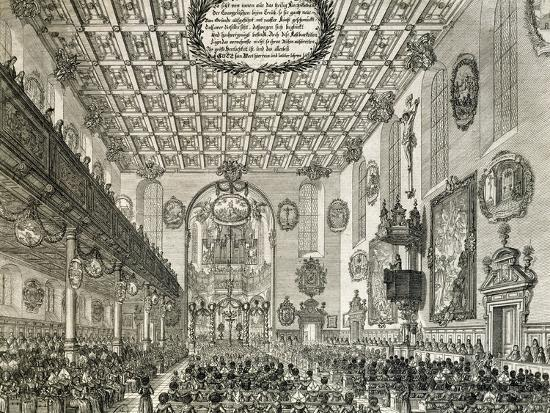 Interior of German Church During Church Service, Germany--Giclee Print