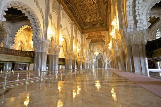 Interior of Hassan Ll Mosque, Casablanca, Morocco, North Africa, Africa-Neil Farrin-Photographic Print