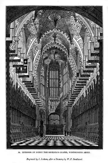 Interior of Henry VII Chapel, Westminster Abbey, 1843-J Jackson-Giclee Print